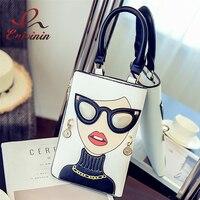 Yeni stil kadın moda kişilik desen küpe dekore kadın totes bayanlar omuz çantası çanta genelinde vücut messenger çanta