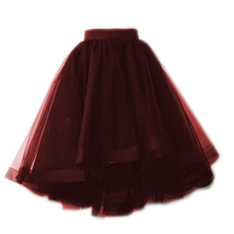 Online Shop Burgundy Dark Green And Black Tulle Skirts Puffy Fashion Tutu Skirt For Women Elastic Style 5 Layers 1 Ling Summer