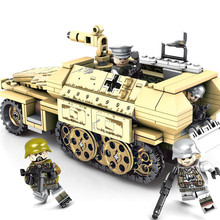 Compatible Legoing WW2 German Armored Vehicle Block Set Military World War Army Model Toy For Kids 559pcs Armored Car