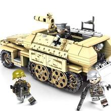 Kompatybilny Legoing WW2 niemieckiego pojazd opancerzony zestaw bloku wojna światowa wojna armii zabawkowy model dla dzieci 559 sztuk samochód pancerny