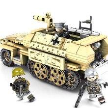 תואם Legoing WW2 משוריינים רכב בלוק סט צבאי מלחמת העולם צבא דגם צעצוע לילדים 559 pcs משוריין רכב