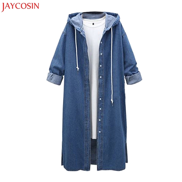 JAYCOSIN Women Hooded Plaid Casual Long Sleeve Denim Jacket Long Jean Coat Outwear Cotton Overcoat z0830