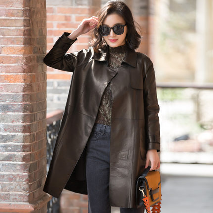 0c93d39db768 2017 Spring New Women s Leather Coat Sheepskin Coat Long Section Loose  Windbreaker ZY2-in Leather   Suede from Women s Clothing   Accessories