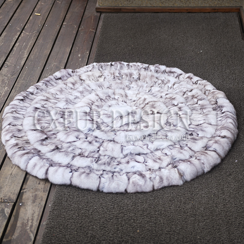 Smart Home Cx-d-137a Patchwork Winter Fluffy Fox Fur Round Shaggy Area Rug Round Fur Carpets Throw For Living Room Decor