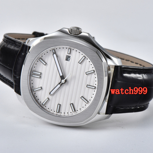 Image 4 - BLIGER 39 mm white dial sapphire glass date movement automatic mens watch stainless steel belt waterproof mechanical watch
