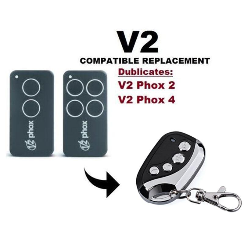 V2 Gate Door Opener Rolling Code Hand Transmitter PHOX2/4 Clone/Duplicator aftermarket v2 garage door remote v2 transmitter v2 radio control v2 rolling door remote repacement rolling code 433 92mhz
