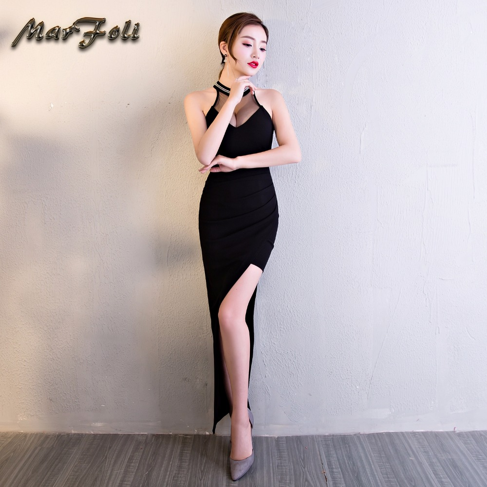 Black Latest Prom Dress Halter Two Piece robe de bal courte Sexy Ankle Length Transparent Mesh Dress Girl Long Party Dress GE36