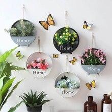 Садовый цветочный горшок, железные держатели для растений, набор комнатных подвесных кашпо, Геометрическая ваза, Настенный декор, контейнер для суккулентов, горшки для растений