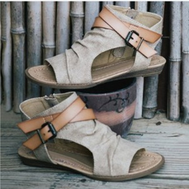 44c228175 US $14.98 30% OFF|High quality Roman Sandals Cool Clip Toe Flat Boots 2018  Fashion Women Summer Boots Hollow Ankle Boots Buckle black brown-in Women's  ...