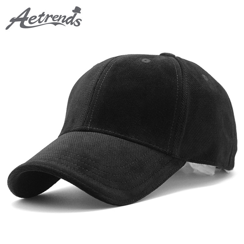 [AETRENDS] Luxury Brand Cotton Velvet Baseball Caps för män Kvinnor Sport Mössor Hat Trucker Cap Pappa Hat Winter Outdoor Z-3023
