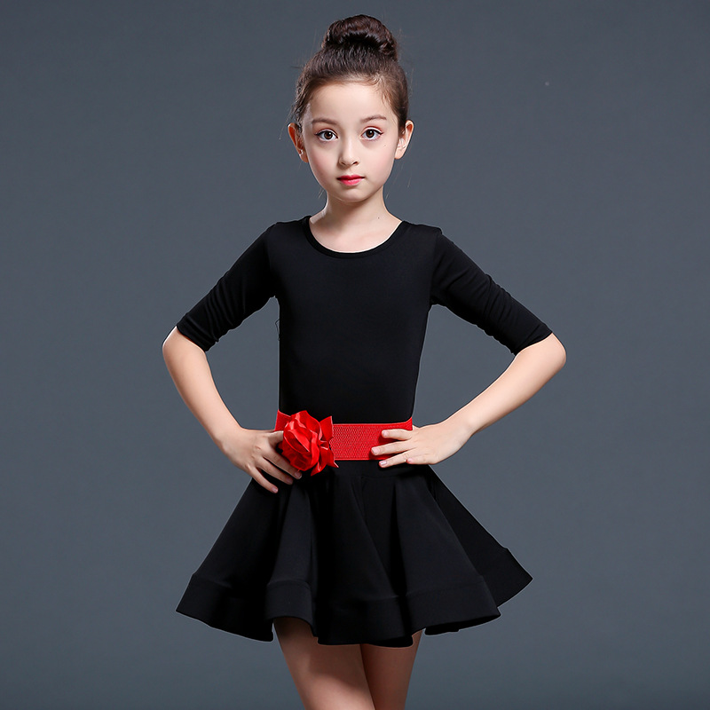 Black Girls Professional Latin Dancing Dress Kids Ballroom Salsa Dance Event Wear Party Stage Competition Dance Costumes Dresses