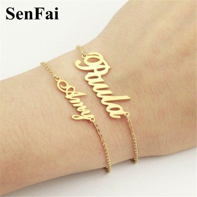 Senfai New Custom Name Bracelets Bangles For Women Men Personalized Monogram Initials Wedding Birthday Party Bar