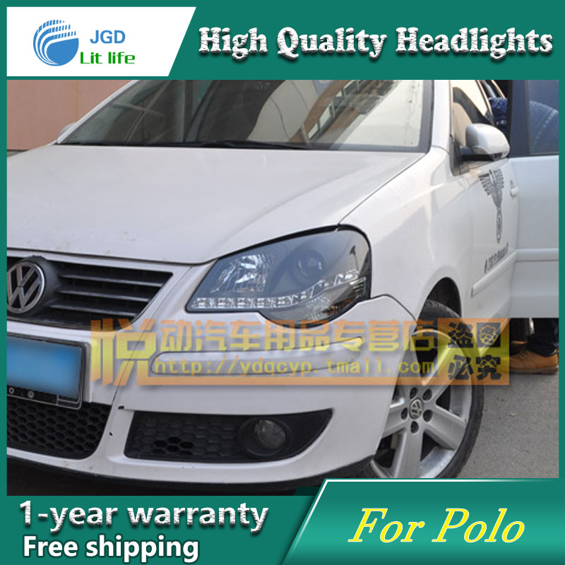 high quality Car styling case for VW Polo Headlights LED Headlight DRL Lens Double Beam HID Xenon high quality car styling case for vw beetle 2013 2014 headlights led headlight drl lens double beam hid xenon car accessories