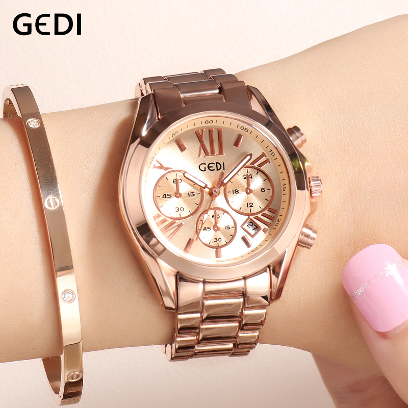 GEDI Rose Gold Women Watches Ladies Quartz Watch Top Brand 2019 Crystal Luxury Female Woman Wrist Watch Girl Clock Reloj Mujer