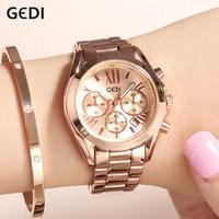GEDI Rose gold Women Watches Ladies Quartz Watch Top Brand 2019 Crystal Luxury Female Woman Wrist Watch Girl Clock reloj mujer