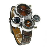 Fashion Sports Watches Men Compass Temperature Function Leather Band Watch Relogio Masculino