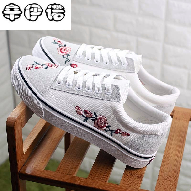 Breathable 2018 Canvas Shoes Woman Platform Loafers Embroider Creepers Spring Lace-Up Flats Casual Flowers Women Shoes de la chance 2018 spring summer women shoes woman harajuku flats lace up casual fashion ladies creepers platform shoes white