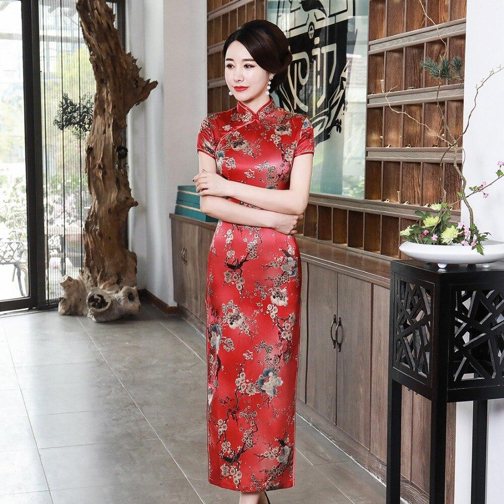 Red Bride Wedding Gown Rayon Long Novelty Qipao Print Flower Plus Size 3XL 4XL Elegant Cheongsam Sexy Women Chinese Dresses
