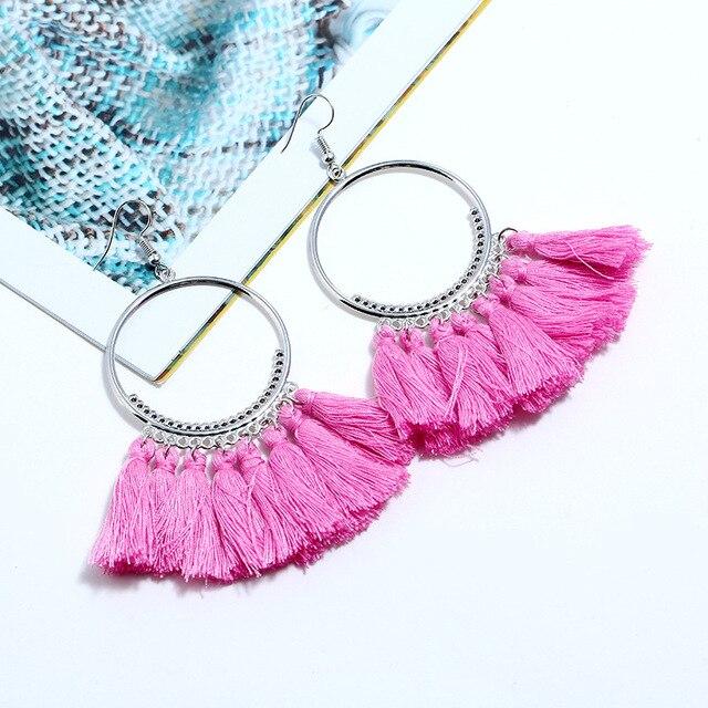 Lzhlq серьги с кисточками для женщин этнические большие висячие