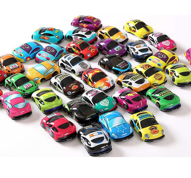 10 Pcs/lot Kartun Mainan Lucu Plastik Tarik Kembali Mobil Mobil Mainan untuk Anak Roda Mobil Mini Model Lucu Mainan Anak untuk Anak Laki-laki Anak Perempuan Wyq