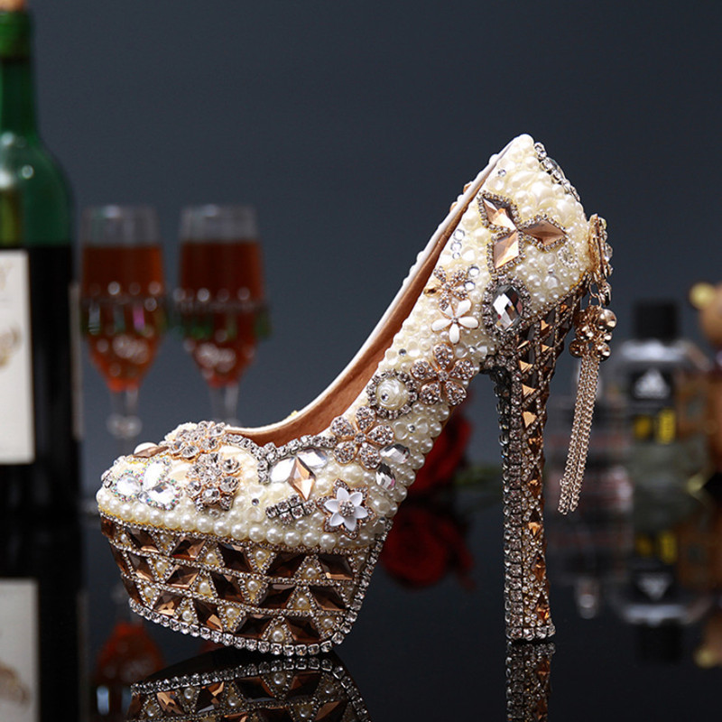 Sexy Rhinestone Wedding High Heels Shoes Woman Fashion Handmade Beading Platform Shoes Women Pumps Big Size 34-43 Women's Shoes