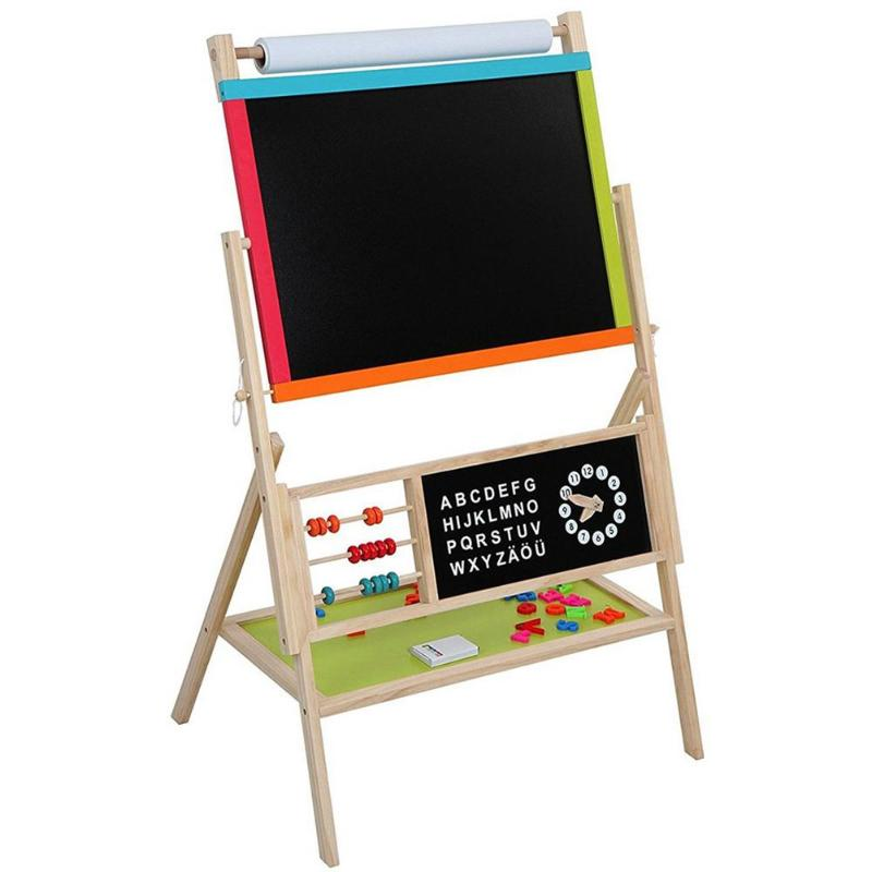 Kids Drawing Toys All in One Wooden Blackboard Kid's Art Education Easel with Accessories for Home Baby Children Learning Gift