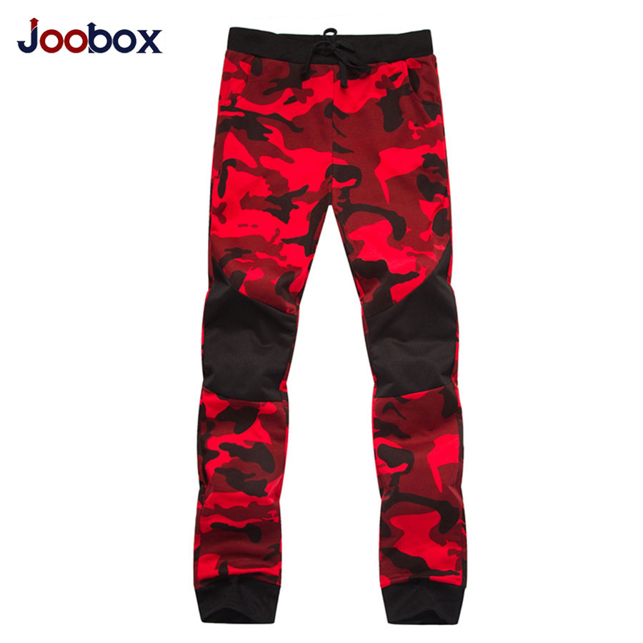 JOOBOX Для мужчин; длинные штаны хлопок тонкий отдых камуфляж лоскутное мужской брюк осень-весна mid-rise повседневные Прямые