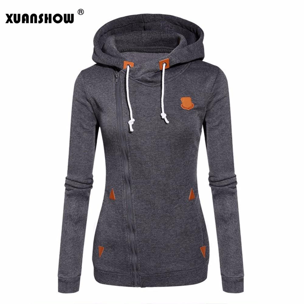 XUANSHOW 2018 Frauen Mode Vliese Sweatshirts Mit Kapuze Candy Farben Solide Sweatshirt Langarm Zip Up Kleidung Sudaderas Mujer