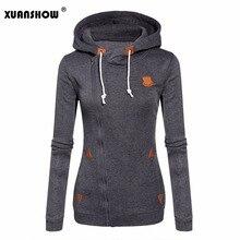 XUANSHOW 2018 Women Fashion Fleeces Sweatshirts Hooded Candy Colors Solid Sweatshirt Long Sleeve Zip Up Clothing