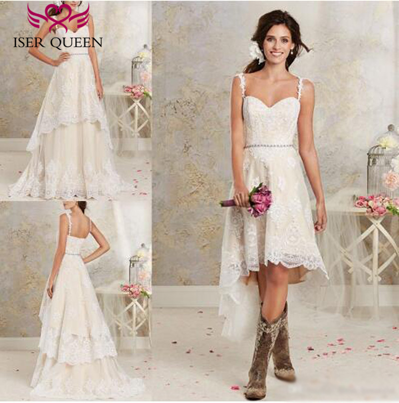 Fashion Two in one Spaghetti Straps A line Wedding Dress 2019 Crystal Sashes Sleeveless Lace Applique Vintage Wedding Gown W0267