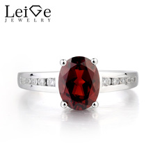 Leige Jewelry Garnet Wedding Ring Natural Red Garnet Ring January Birthstone Oval Cut Red Gemstone 925 Sterling Silver Gifts