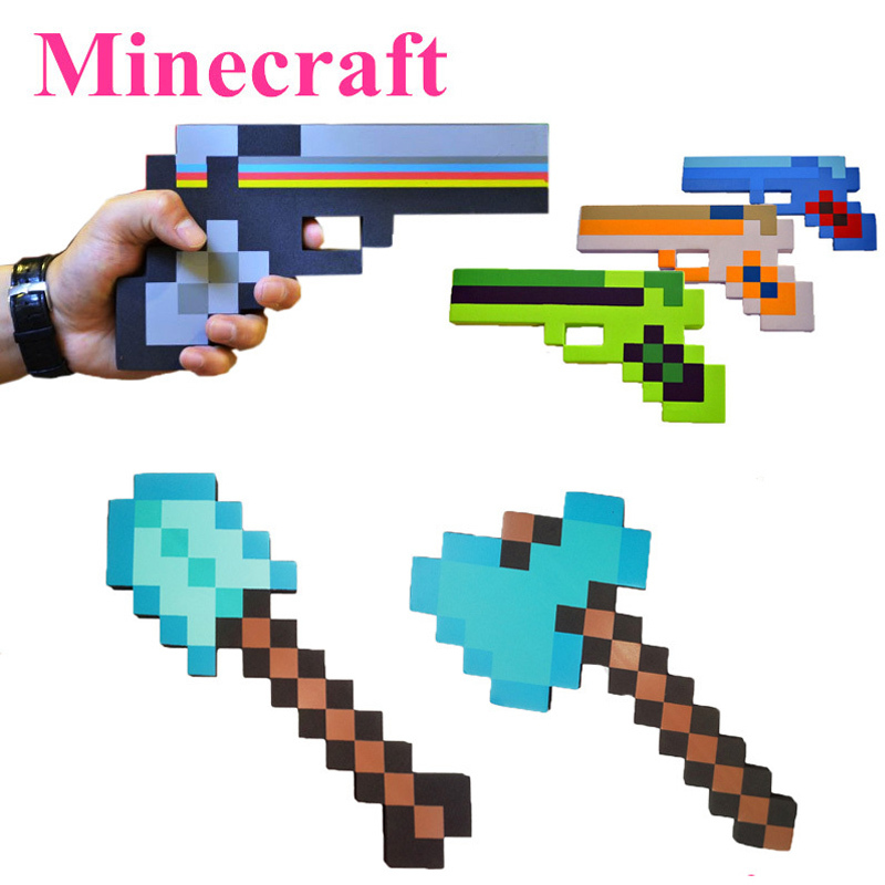 New Minecraft figure toys cosplay foam sword pickax gun EVA toys Minecraft diamond weapons model toys Brinquedos for kids gifts цена и фото