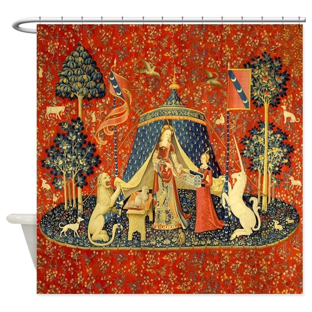 lady and the unicorn medieval tapestry art shower decorative