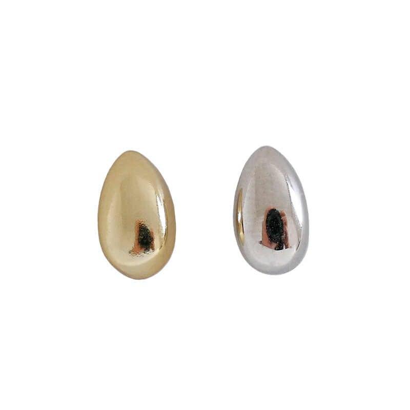 Shanice Sederhana DROP Bentuk Pesona 925 Sterling Silver Perhiasan Vintage Halus Wajah Geometris Oval Stud Anting-Anting untuk Wanita Hadiah