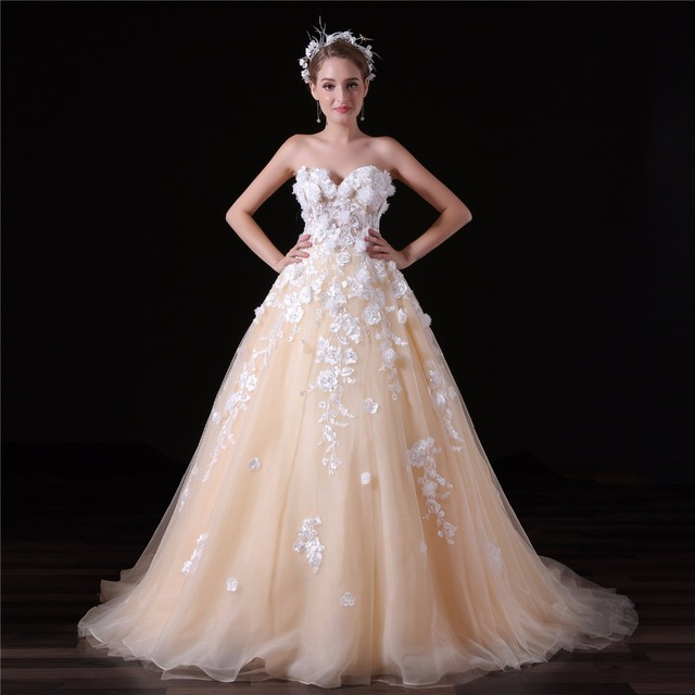 champagne robe de mariage fleur 3d appliques princesse robe de bal sweetheart mari e robes de. Black Bedroom Furniture Sets. Home Design Ideas