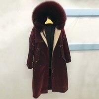 long Real Fur Coat Winter Jacket New Fashion Women Parka Natural Raccoon/fox Fur Collar Hood rabbit Fur Liner Thick Warm Stre