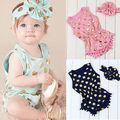 2016 New Baby Girls Bodysuit 0-24M Infant Toddle Kids Summer Short Sleeve Playsuit Cute Girls Princess Dot Tassel Bebes Outfit