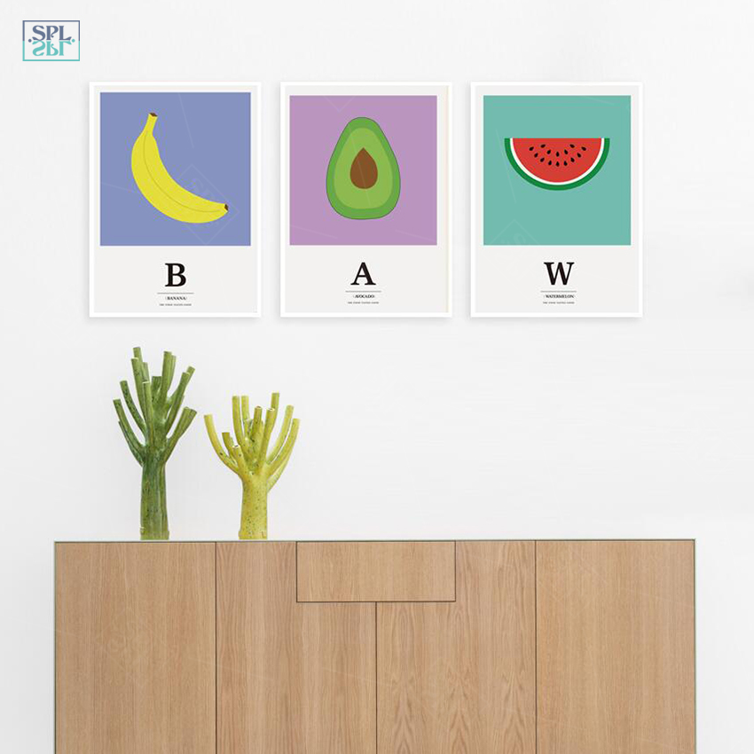 SPLSPL Nordic Style Kids Decoration Cute Watercolor Fruit Canvas Art Posters And Prints Wall Picture For Living Room No Framed