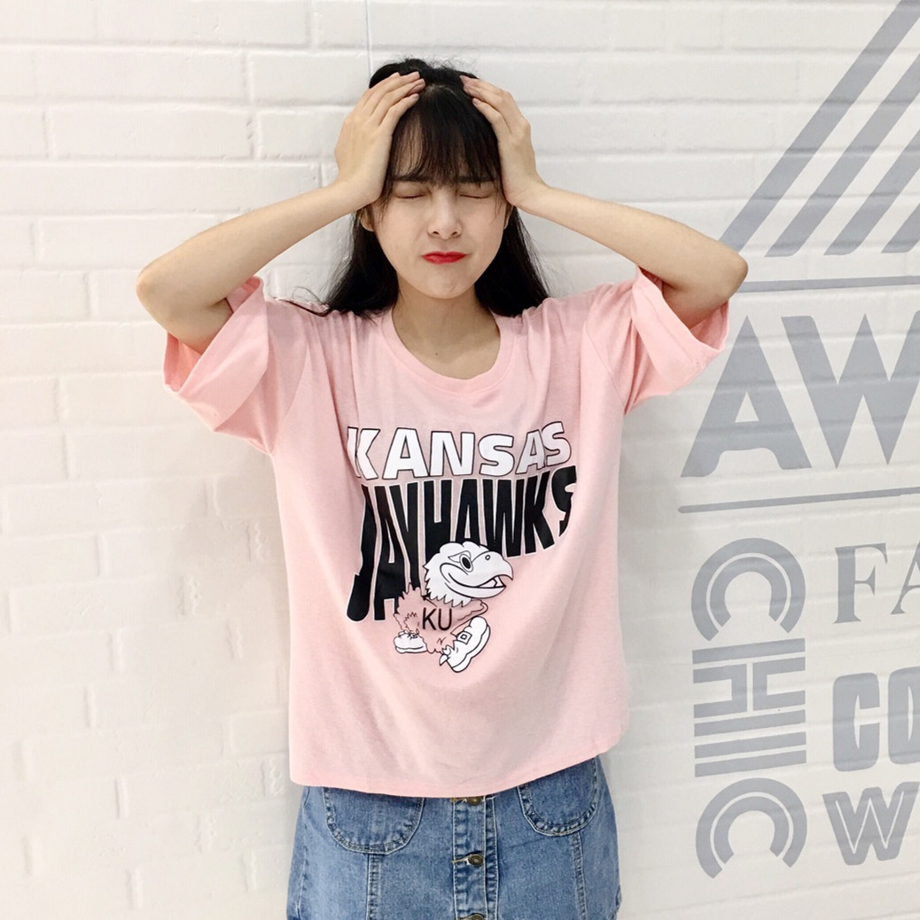 Eyam Fashion 2017 All Match College Wind Basic Cartoon Letter Printed Cotton Casual Short Sleeve Female T-shirts