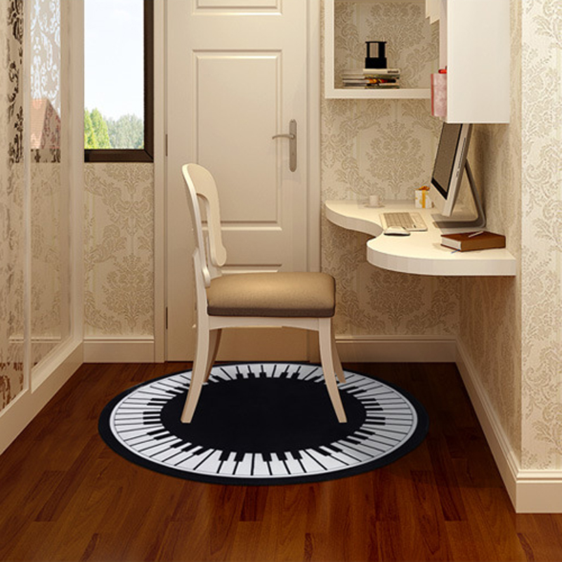 Kreative Klaviertaste Runde Teppiche Für Wohnzimmer Home Bereich teppiche Für Bedoom Cartoon Teppich Kinderzimmer Computer Stuhl Boden matte