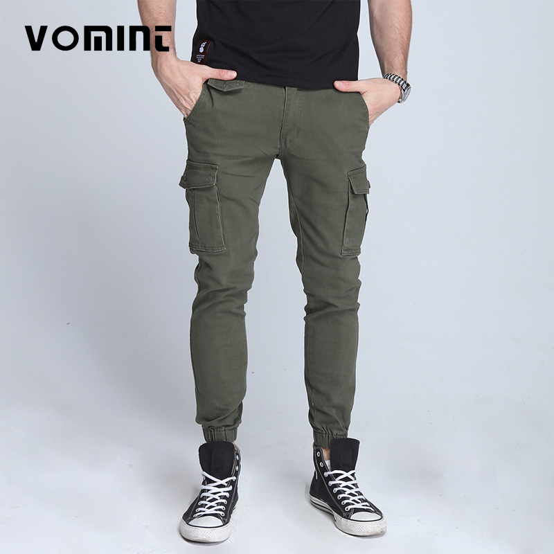 Vomint New Men's Pants Elastic Foot Close Skinny Pants Tactical Military Men's Cargo Pants Multi-pocket Overalls  (No Belt)