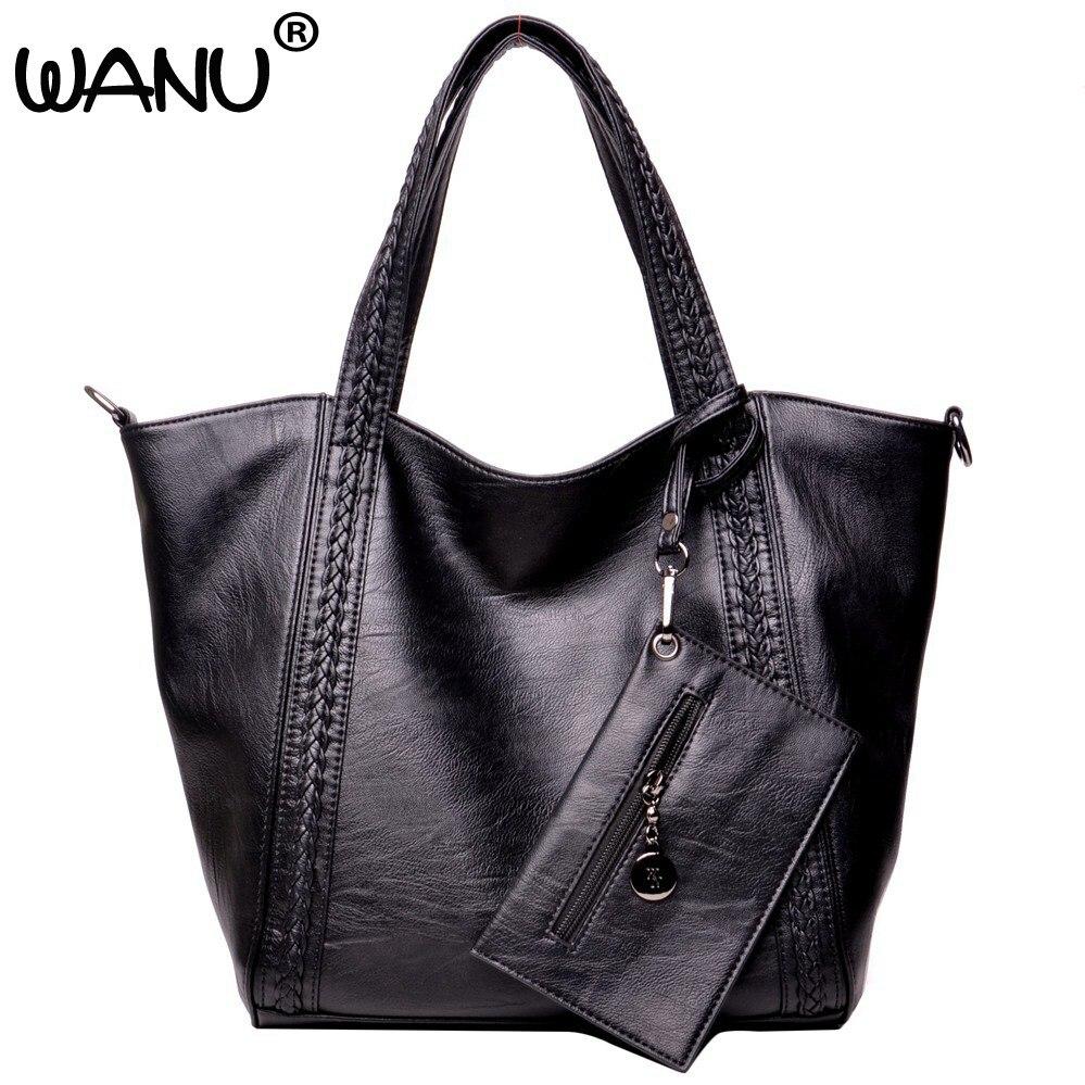 где купить WANU Leather Luxury Handbags big black casual women bag fashion women composite bag handbags gift for wife hiqh quality leather по лучшей цене