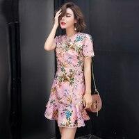 Fashion Summer Dresses 2017 Short Sleeves Summer Sexy Mini Dress Pink Yellow Beach Dress