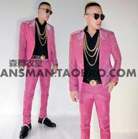 2018 мужской певец сценический волшебный цвет Сао розовый градиентный блестящий костюм DJ костюмы из двух предметов костюм