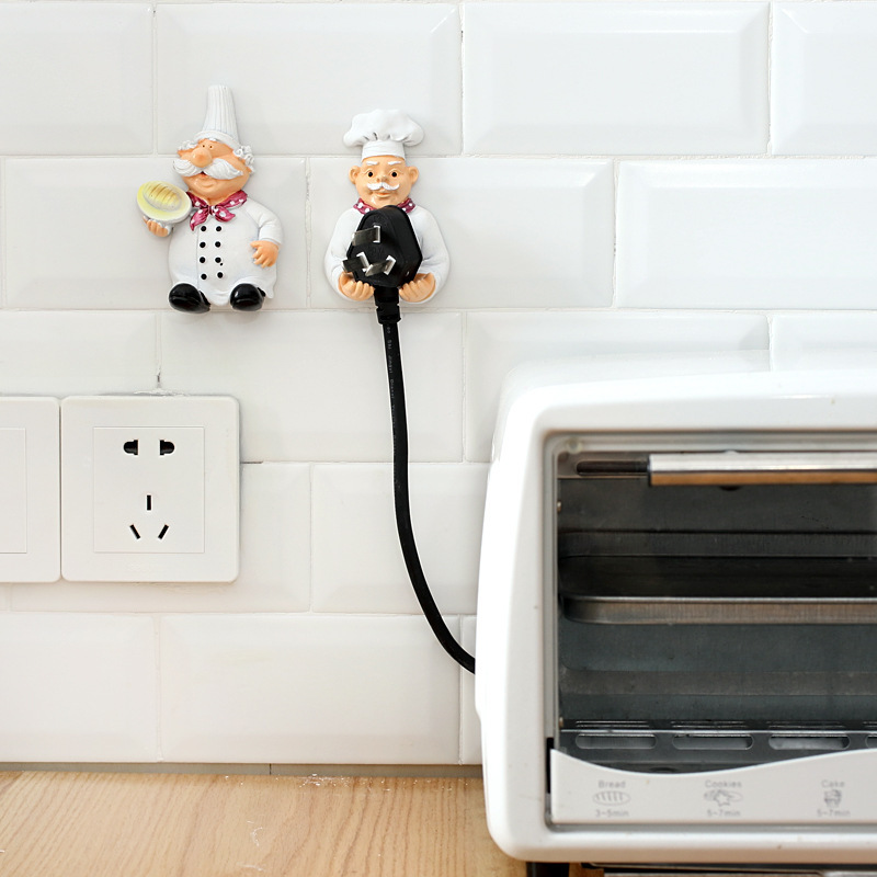 High Quality New Chef Storage Rack Bear Outlet Plug Holder Hook Wall Shelf Key Holder Kitchen Accessories Strong Adhesive P20