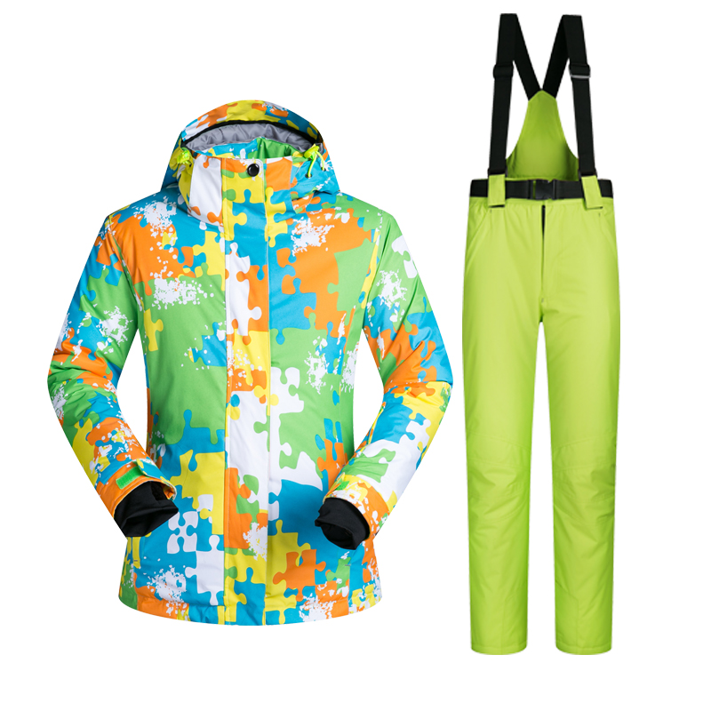 цена на New Outdoor Sports Ski Suit Women Windproof Waterproof Thermal Snowboard Snow Skiing Jacket And Pants Skiwear Camouflage Clothes