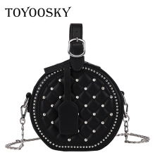 цены TOYOOSKY Small Women Round Handbags Rivet Leather Circular Women Shoulder Bag Mini Evening Party Bag Circle Crossbody Bag