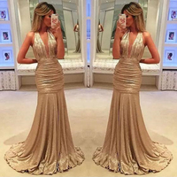 2018 Sexy Elegant Long Prom Gowns Gold Mermaid Evening Gowns Deep V Neck Formal Party Dresses Custom Made Plus Size