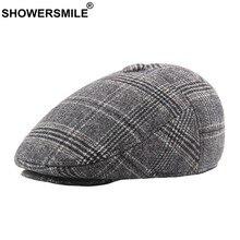 SHOWERSMILE algodón tapas boinas hombres a cuadros gris Cap taxista con  orejeras más gruesas de pico de pato sombrero hombre Ret. 94f772faff7