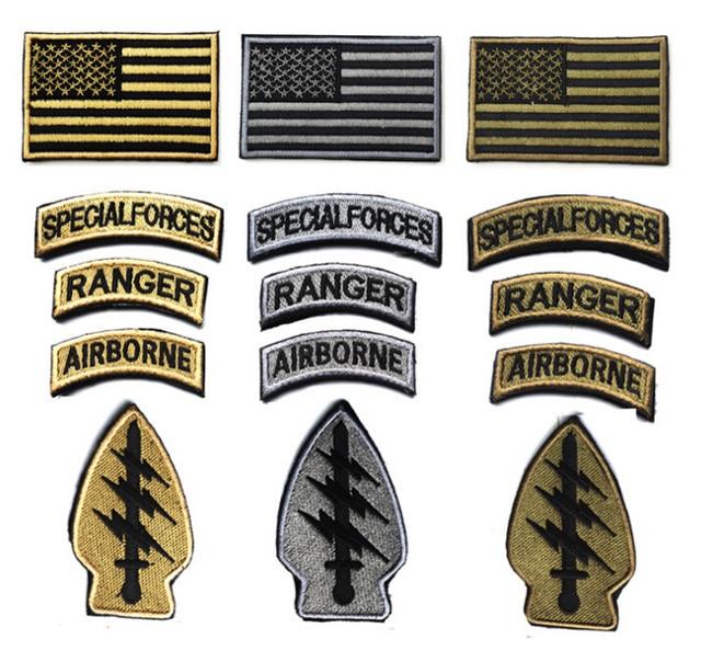 5 pcs Ranger Das Forças Especiais Airborne Armband América Bandeira Patch  Bordado Exército Tático 3D Crachá 2c2bf47723b